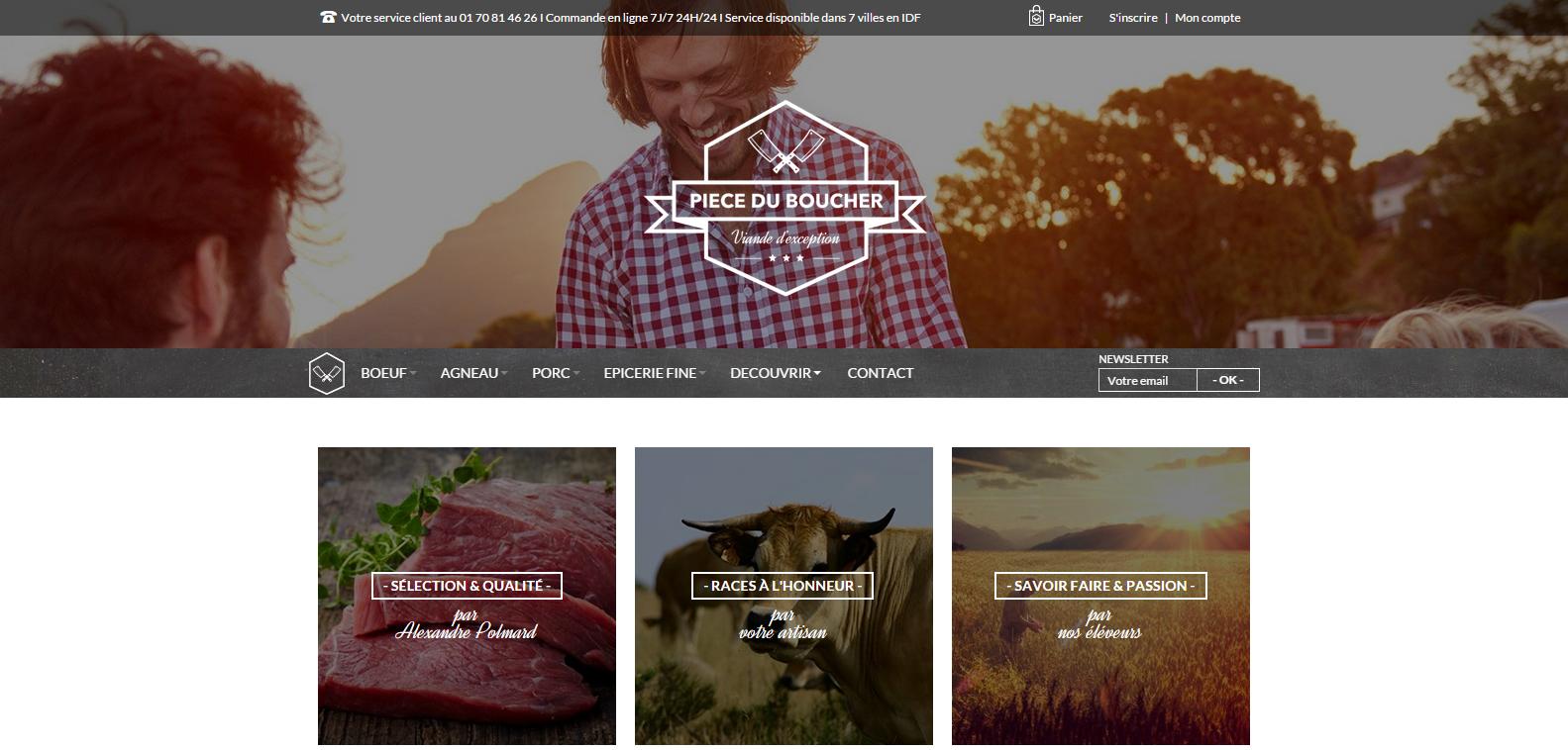 La page d'accueil du site web Pièce du Boucher