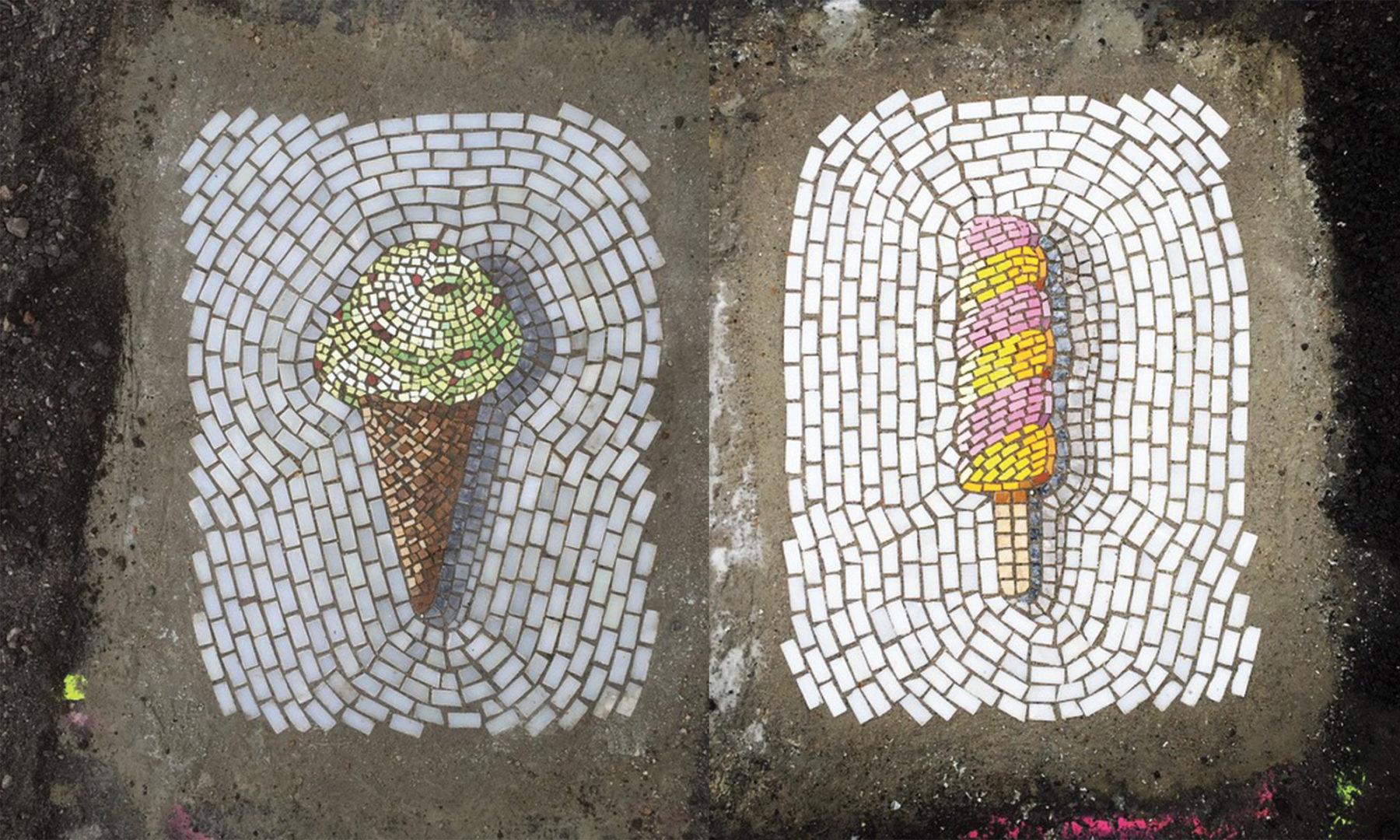 Street Art : des mosaïques gourmandes remplacent des nids de poule