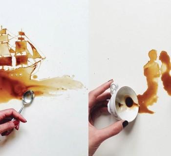 Une artiste réalise des œuvres d'art à partir de café renversé !
