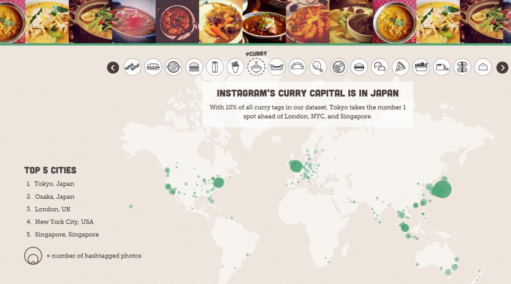 Carte du curry Instagram dans le monde