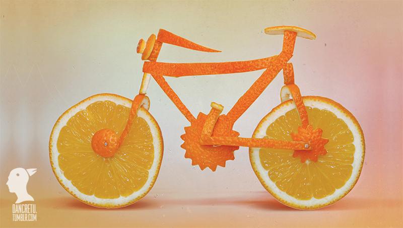 Le Food'Art en vélo à partir d'oranges