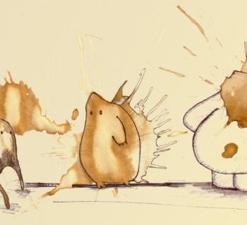 Des monstres réalisés à partir de taches de café !