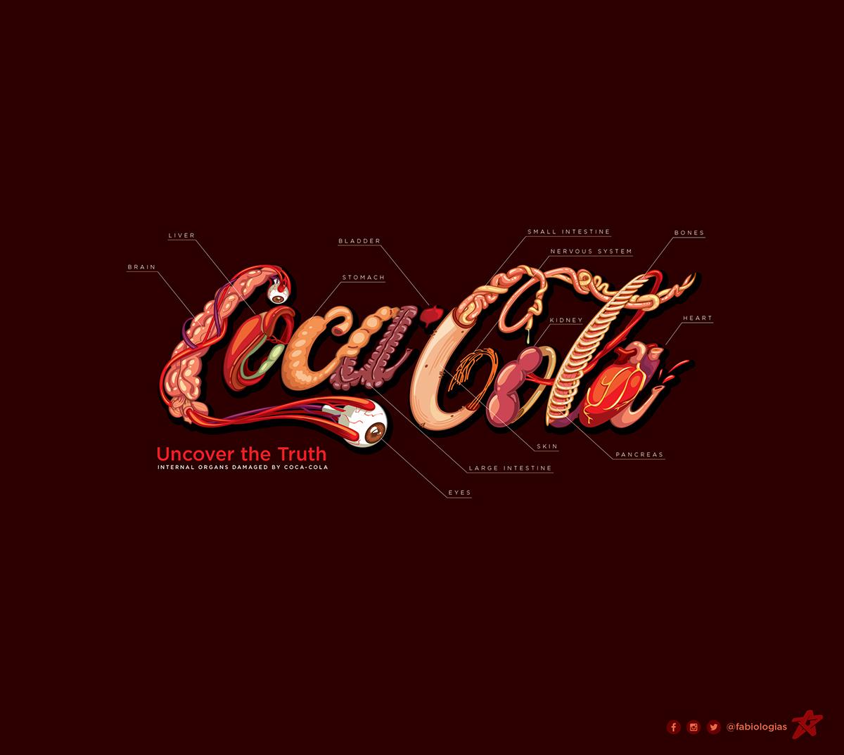 Le logo de Coca-Cola recréé avec des organes du corps humain !