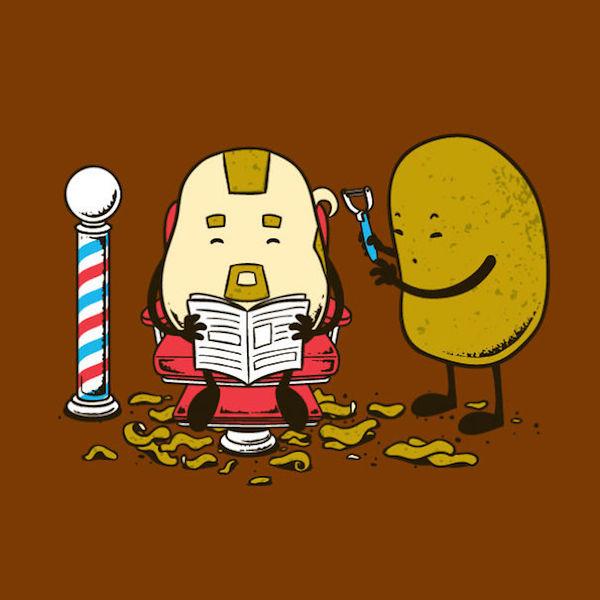 Une pomme de terre chez le coiffeur
