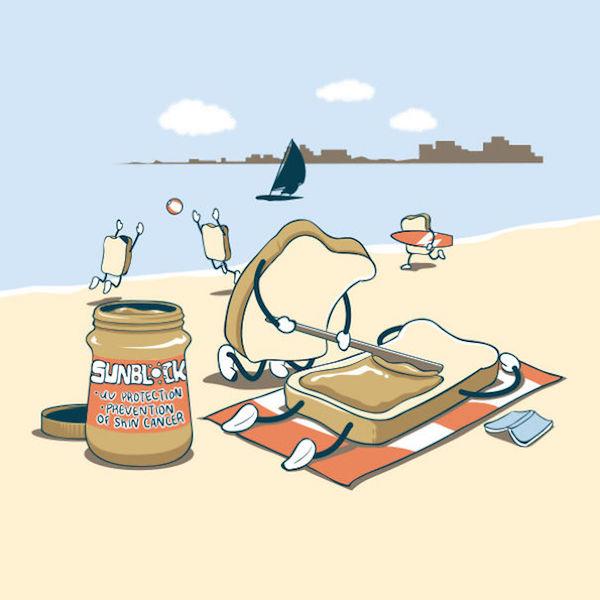 Des tartines à la plage