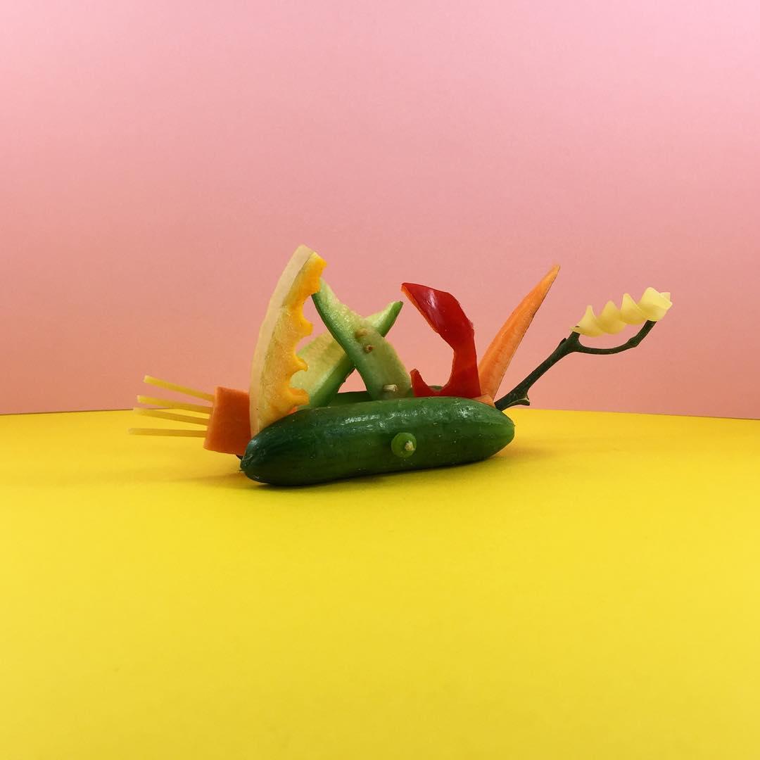 Une artiste déguise et sculpte des aliments