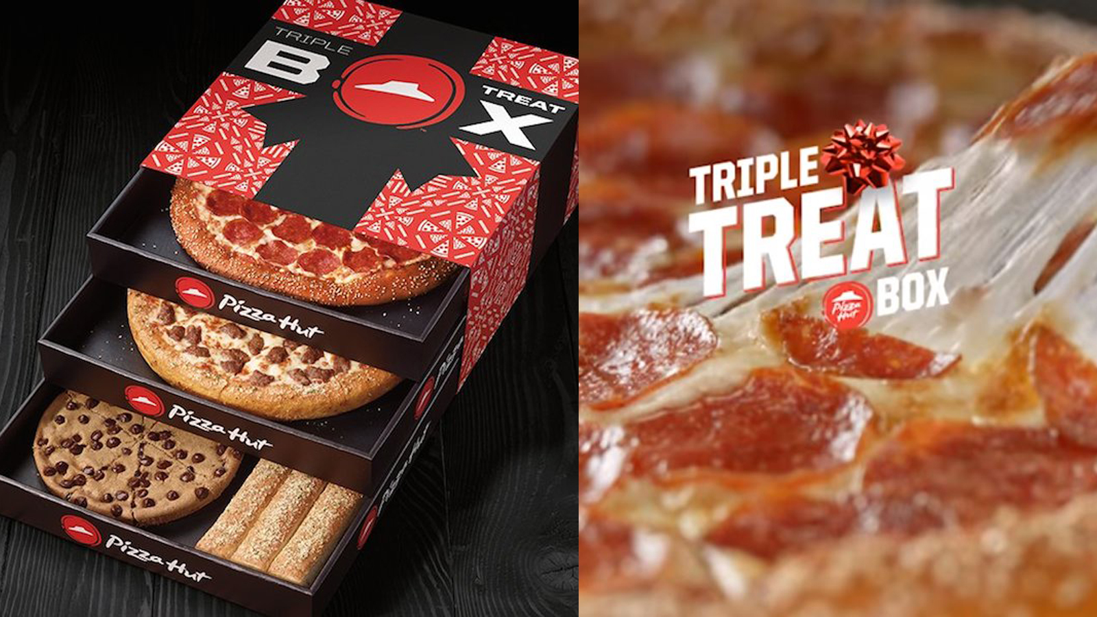 pizza hut lance triple treat box la bo te pizza trois tiroirs food geek love. Black Bedroom Furniture Sets. Home Design Ideas