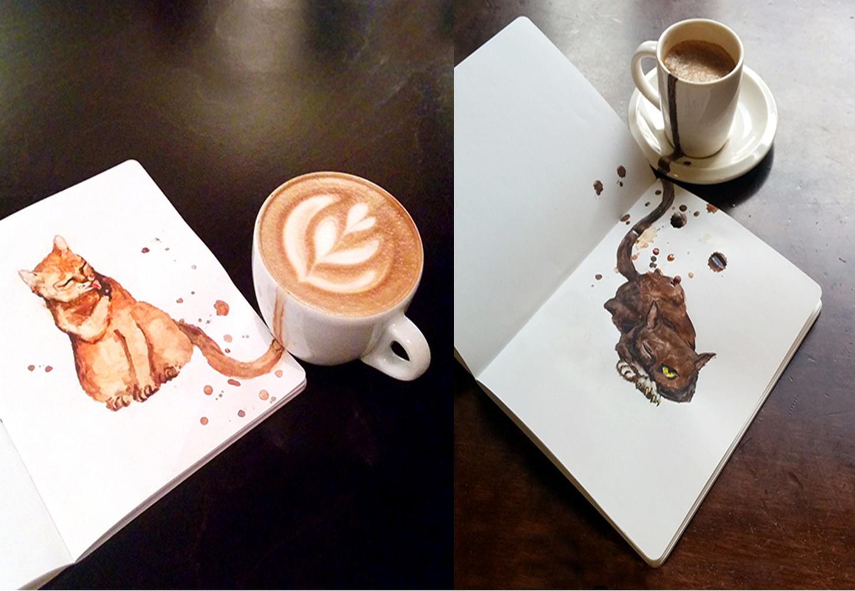 Une artiste réalise des portraits de chats à partir de café