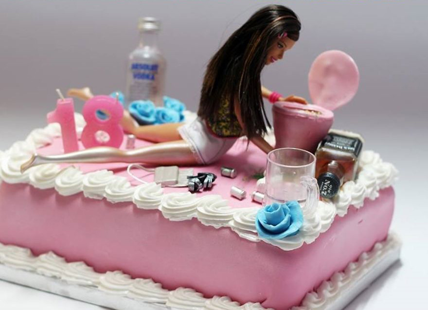 Un gâteau barbie drunk