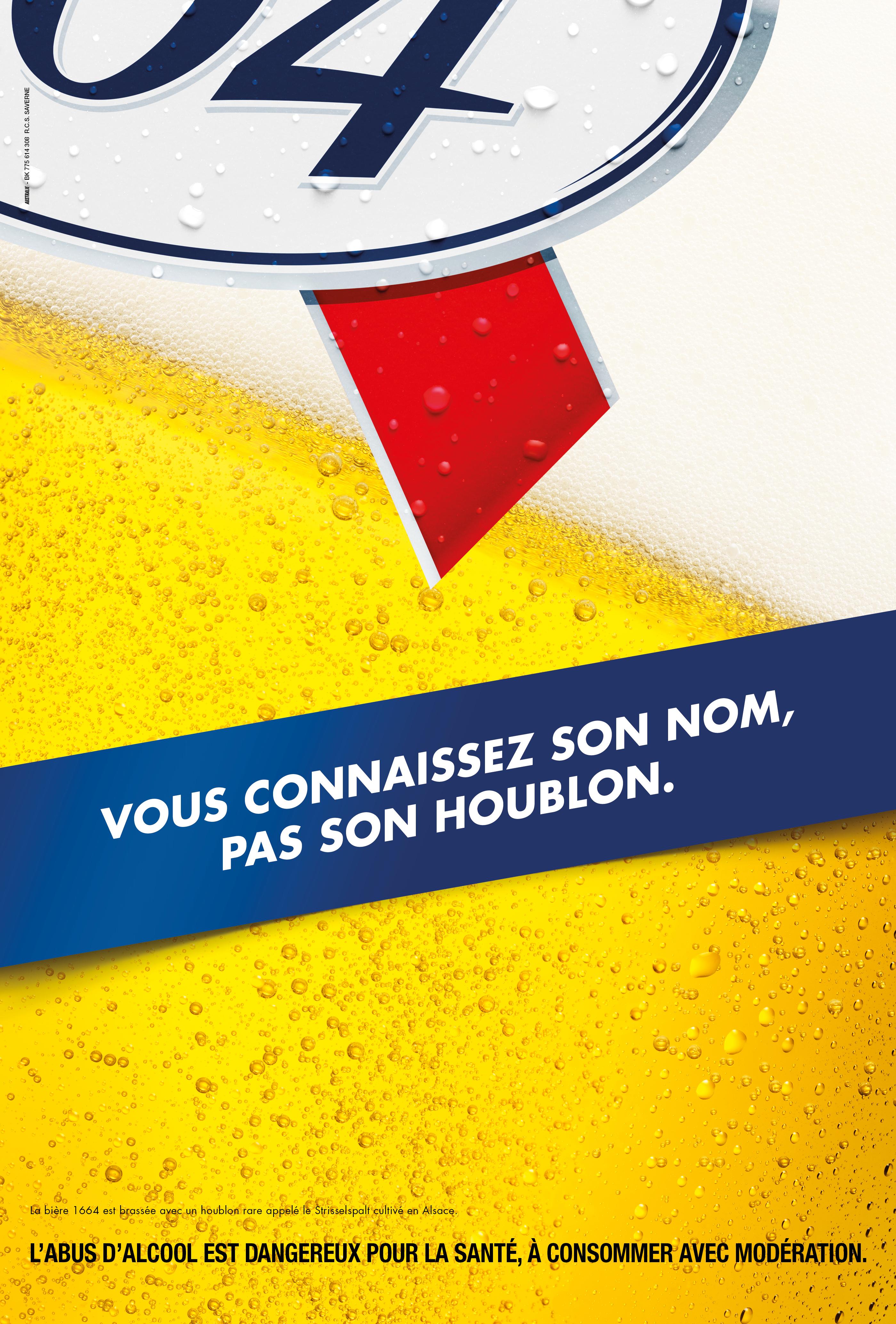La marque interpelle les français et leurs sens avec ce visuel jouant sur le mouvement et la couleur or de sa bière.